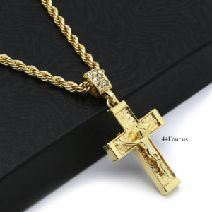 "Jesus Cross Pendant W/24"" 4mm Rope Chain"