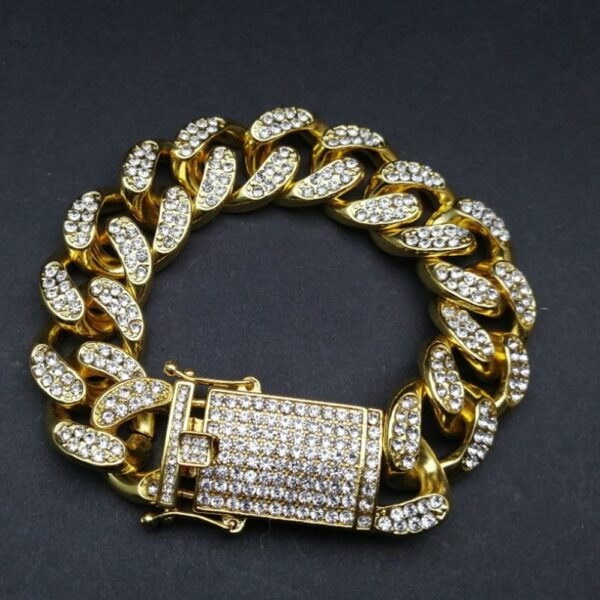 Iced Out Watch, Flat Cuban Link & Thick Bracelet Combo Set