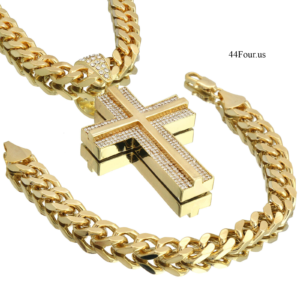 """Double Cross Pendant w/30"""" Cuban Chain"""