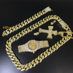 Iced Out Cuban Necklace, Watch, Bracelet, Ring & Earrings Combo Set