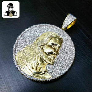 Iced Out Jesus Face Round Medallion