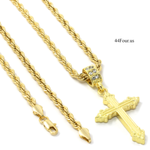 "Sharp Cross Pendant w/24"" 4mm Rope Chain"