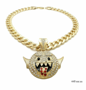 "Iced Out Boos Ghost Pendant w/20"" Cuban Choker"