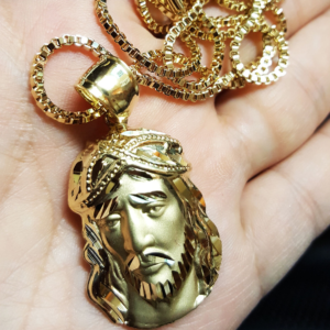 "D-Cut JESUS FACE Pendant w/24"" Box Chain"