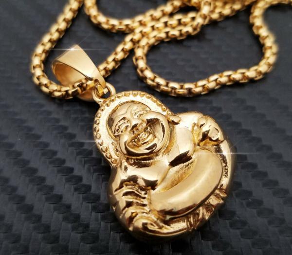"Happy Buddha Pendant w/24"" Round Box Chain Necklace"