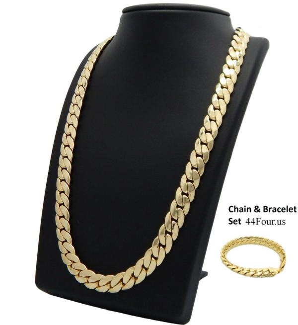12mm Miami Cuban link Chain & Bracelet Set