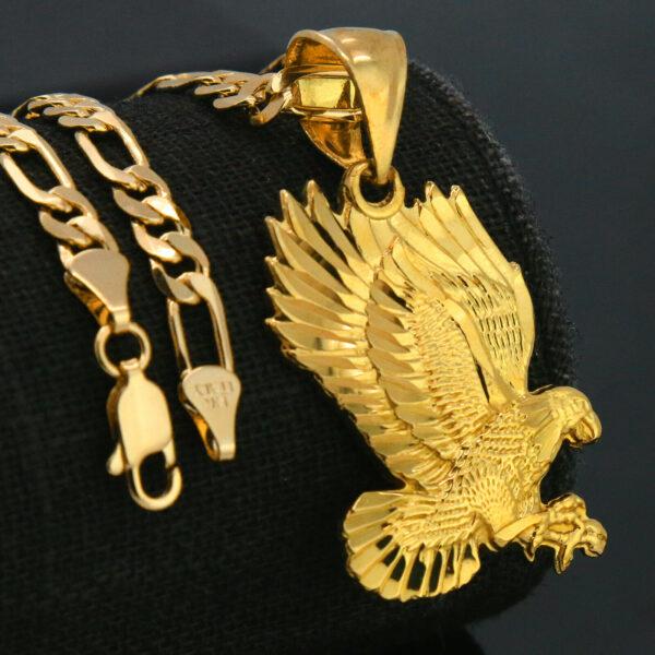 """Eagle D-Cut Pendant w/18"""" Figaro"""