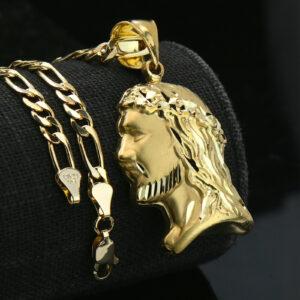 """Jesus Face D-Cut Pendant w/18"""" Figaro"""
