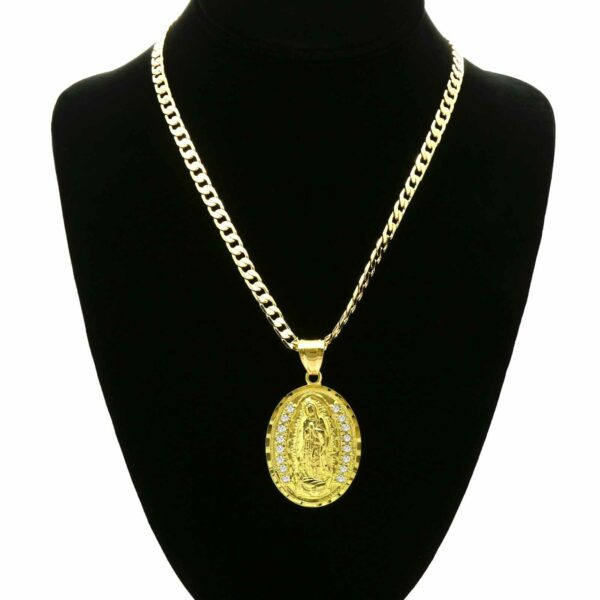 "Oval Guadalupe Pendant w/24"" Cuban Chain"