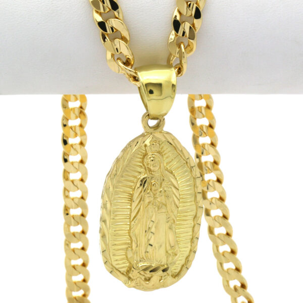Guadalupe Pendant With Cuban Chain Link