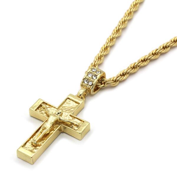 "Jesus Cross Pendant W/24"" 4mm Rope Chain"