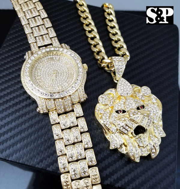 Iced Out Watch & Big Lion Head Pendant