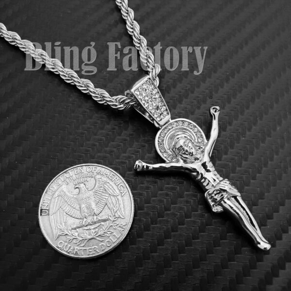 Iced Out 2 Jesus Pieces Rope Chain Set