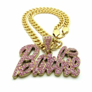 Iced Out Barbie Pendant w/18