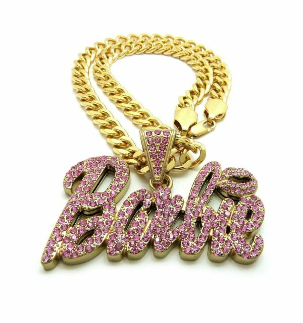 "Iced Out Barbie Pendant w/18"" Cuban Choker"