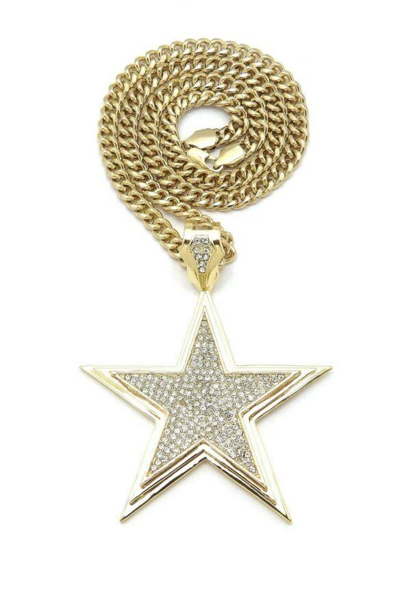 "Large Star Pendant w/24"" Cuban Chain"