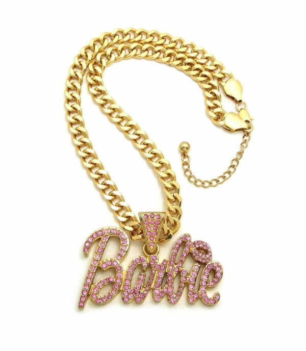 "ICED WOMEN'S BUST DOWN BARBIE PENDANT w/18"" LINK CHAIN"