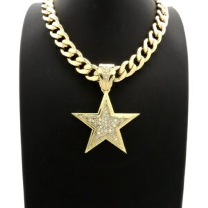"Star Pendant w/11mm 20"" Cuban Choker"