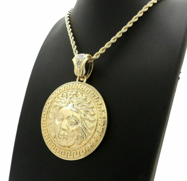 """Medusa Medal Pendant w/4mm 24"""" Rope Chain"""