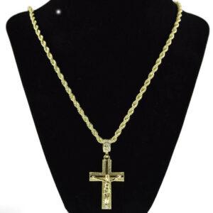 Jesus Crucifix Pendant w/4mm 24