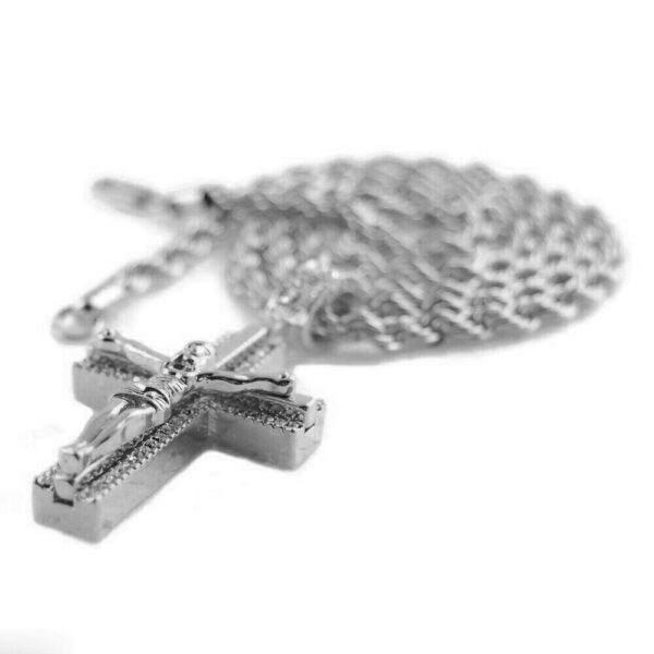 "Jesus Crucifix Pendant w/4mm 24"" Rope Chain"