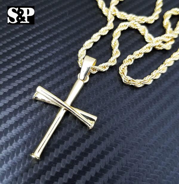 "Baseball Triple Bat Cross w/24"" Rope Chain"