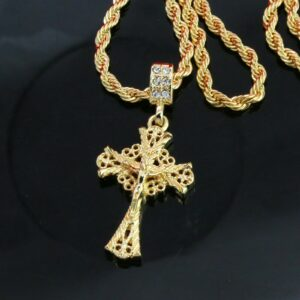 "Jesus Cross D-Cut w/ 24"" Rope Chain"