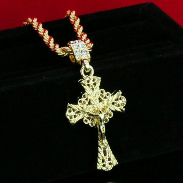 """Jesus Cross D-Cut w/ 24"""" Rope Chain"""