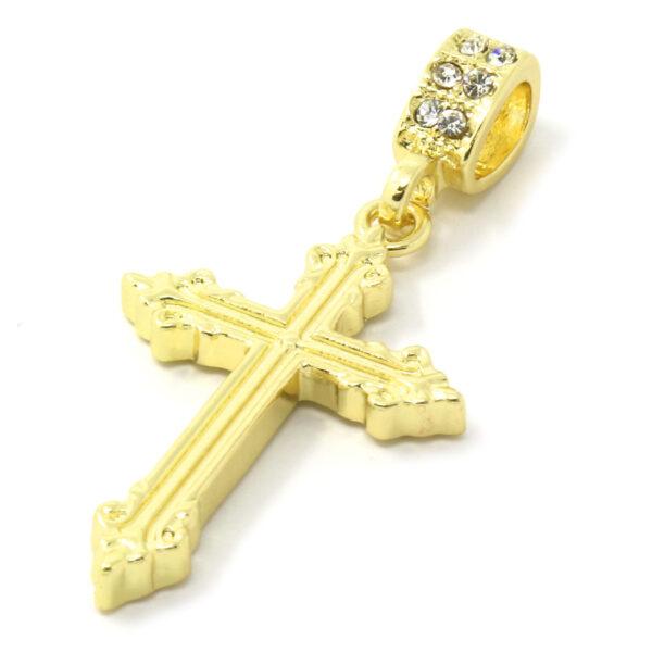 "Sharp Cross Pendant w/24"" 4mm Rope Chain"