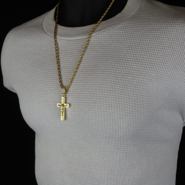"Jesus Cross Pendant With 24"" Rope Chain"