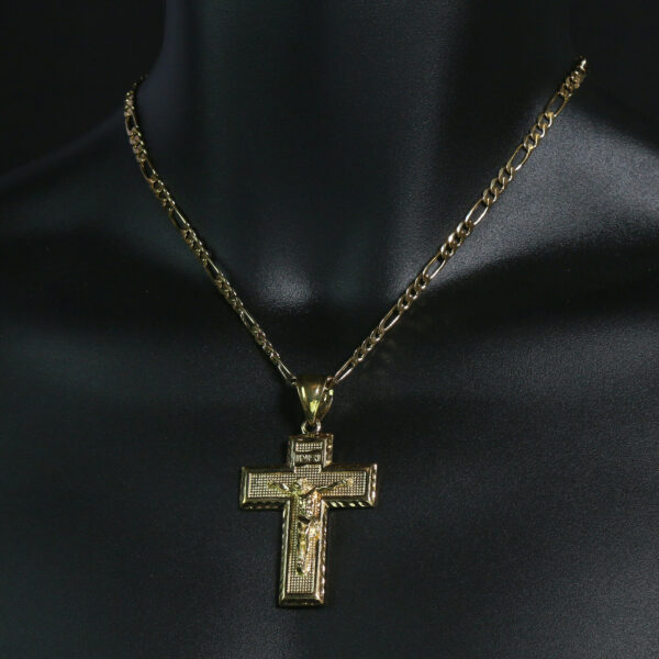 "Jesus INRI Cross 14k Stamped18"" Figaro"