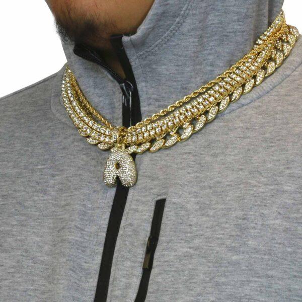 5 pcs Bundle Set 14k Gold Plated Hip Hop Fully Cz Chain Letter Pendant