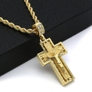 "14k Stamped 24"" Rope Chain w/Jesus Cross Pendant"