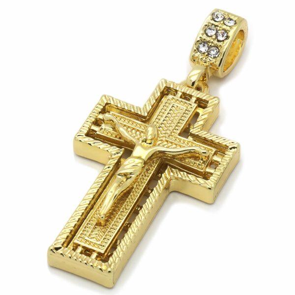 "14k Stamped 24"" Rope Chain w/Jesus Cross Pendant"