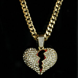 "BROKEN HEART Pendant w/30"" Cuban Link Chain"