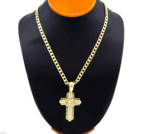 "Cross Pendant w/24"" Cuban Chain"