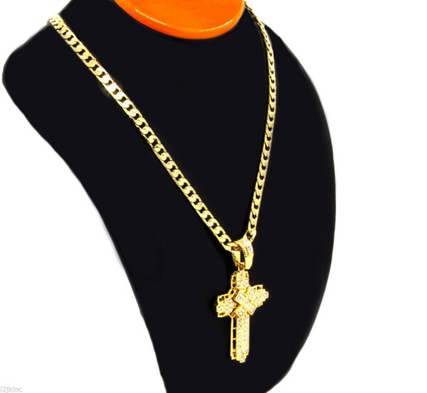 "Cross Pendant w/24"" Cuban Chain"
