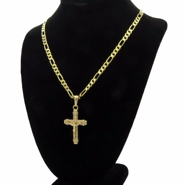 "Iced Out Cross w/24"" Figaro chain"