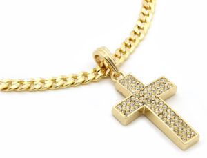 "Iced Out Cross Pendant w/24"" Cuban Necklace"