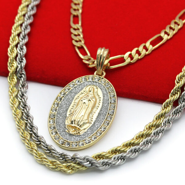 "Guadalupe Pendant w/18"" Figaro 24"" Rope Chains"