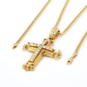 "Iced Out Cross Pendant w/24"" Cuban Chain"