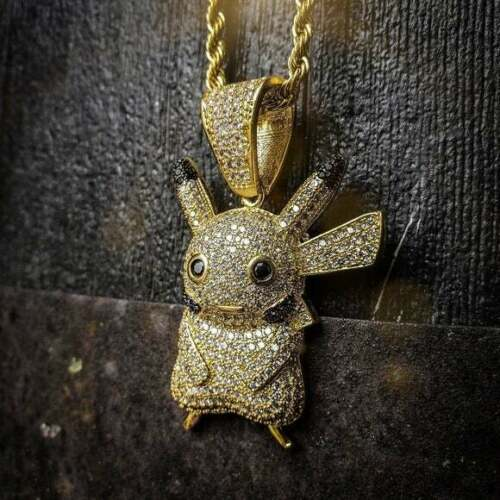 """ICED OUT PIKACHU W/24"""" ROPE CHAIN"""