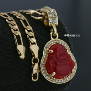 "Buddha Red Resin Charm With 5mm 18"" Figaro Necklace Choker"