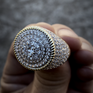 Men's Round Big 20mm Cluster Pinky Ring 2-Tone Iced Out AAA+ AAA+ Lab Zircon Stones