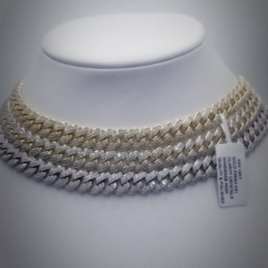 Solid 10MM Miami Cuban Choker Link Necklace AAA+ Stones