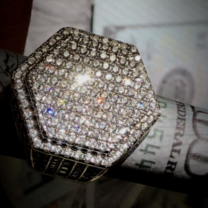 Fully Iced Out AAA+ 2.5ct Lab Simulated Diamonds 14k White/Gold Pinky Ring sizes 6-10