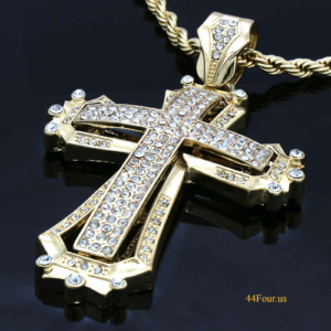 "Hollow Icy Cross Pendant With 5mm 30"" Rope Chain"