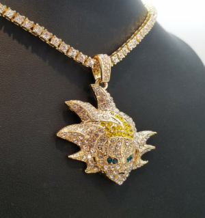 "Iced SON GOKU Pendant With 20"" 1 ROW Tennis Choker Chain"