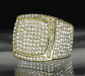 Men's Large Iced Out Square Pinky Ring