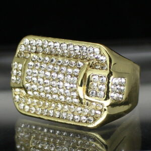 Men's Iced Pinky Ring Rectangle Band Sizes 8-12